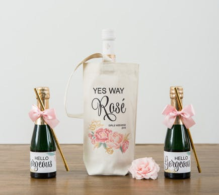 Pink and Gold Wine Bag and Rosé Engagement Gift Idea with Mini Bottles of Prosecco | Confetti.co.uk