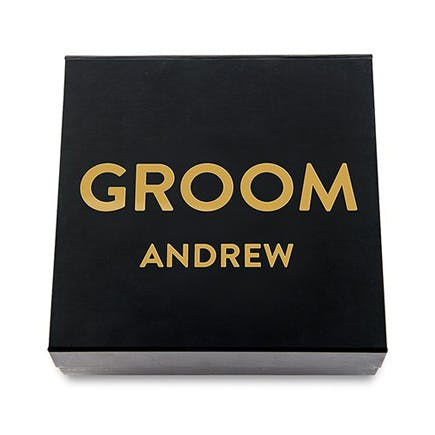 Premium Gift Box - Groom In Metallic Gold - Black and Gold | Confetti.co.uk