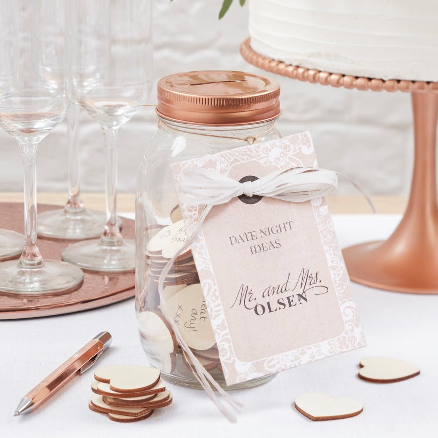 Rose Gold and Wooden Hearts Wishing Jar Guest Book Date Ideas DIY | Confetti.co.uk