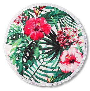 Round Beach Towel - Tropical Pink Hibiscus | Confetti.co.uk