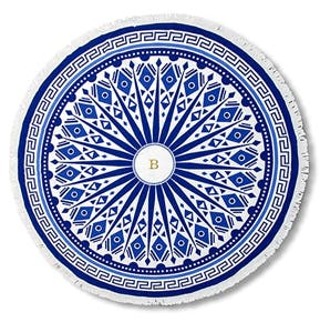 Round Beach Towel - White and Blue Tribal Print | Confetti.co.uk