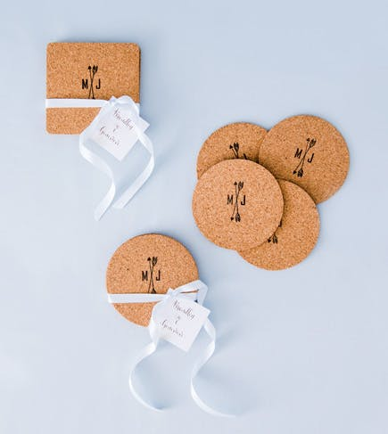 Round and Square Cork Coasters with Personalised Arrow Monogram Ink Stamp | Confetti.co.uk