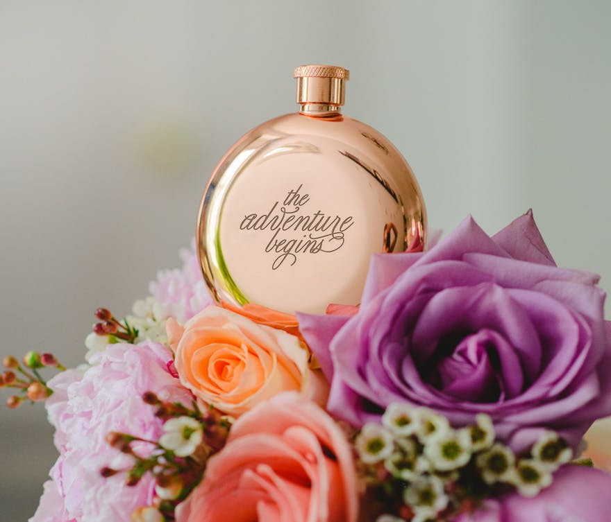 The Adventure Begins Personalised Round Rose Gold Hip Flask | Confetti.co.uk