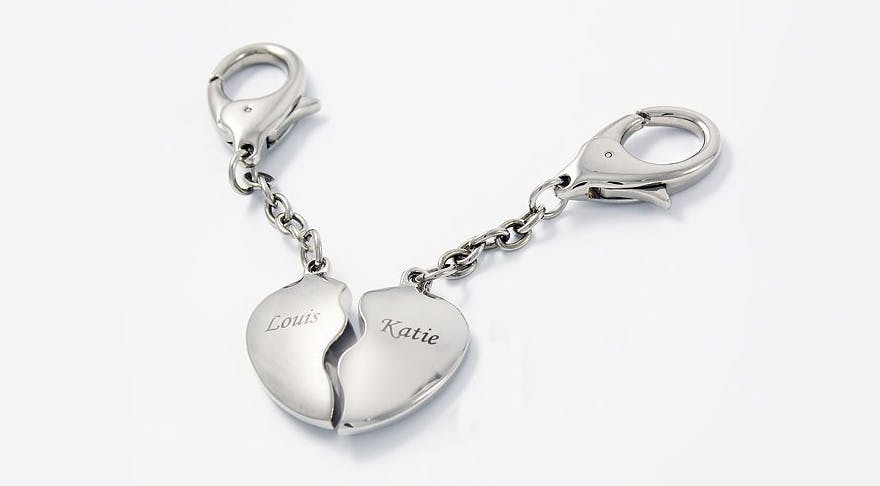 Two Hearts Keyrings Personalised | Confetti.co.uk