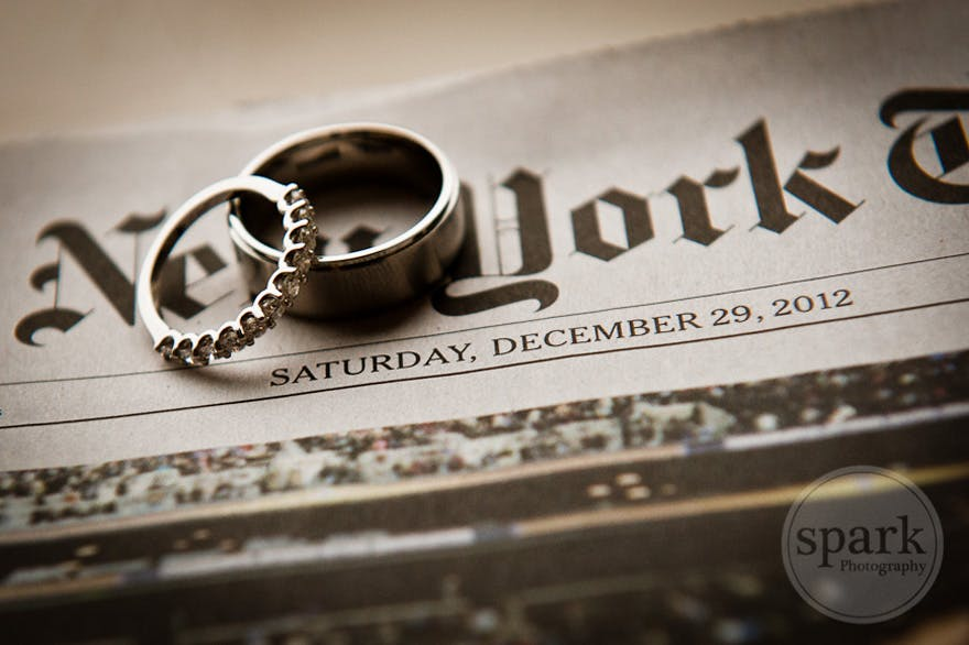 Wedding Rings and Newspaper Date - Hotel Dupont Wilmington Wedding by Spark Photography - Ashleyann and Al | Confetti.co.uk