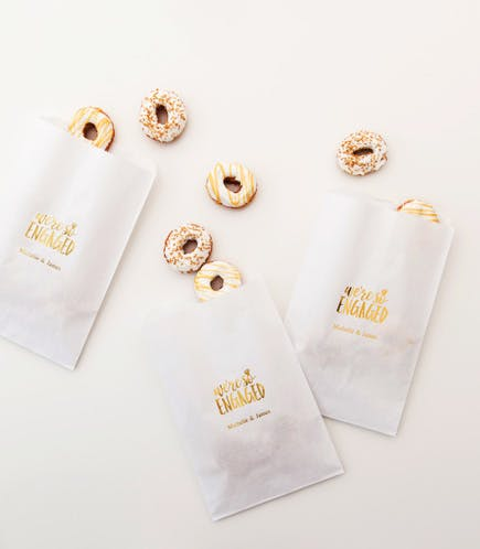 White and Gold Mini Donuts Wedding Favour Idea and Wedding Gift Idea and Engagement Gift Idea | Confetti.co.uk