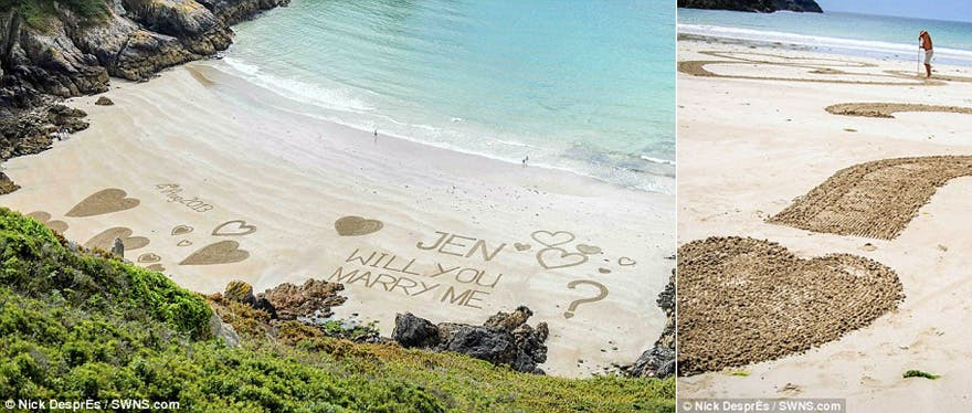 Will You Marry Me Written in the Sand Message on the Beach | Confetti.co.uk