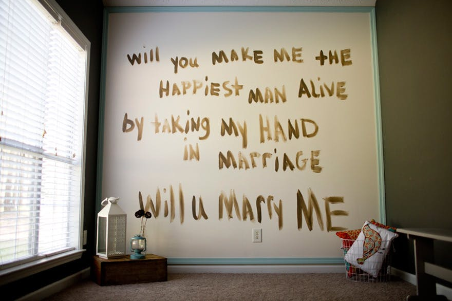 Will You Marry Me Painted On The Wall By Taken Tate Confetti Co
