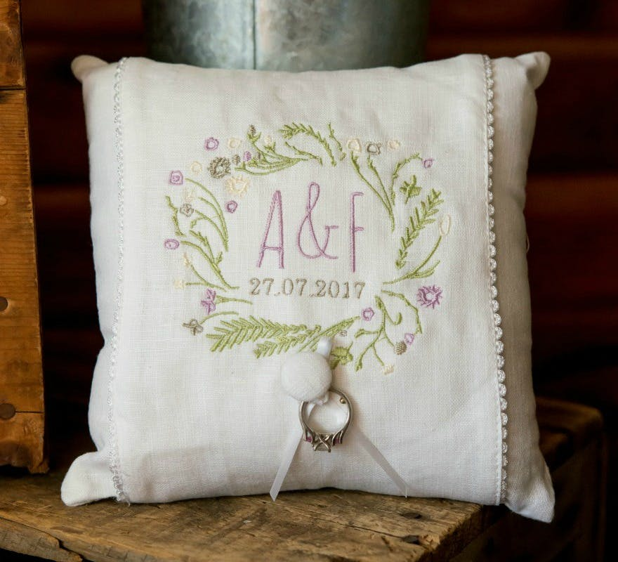 'Simply Sweet' embroidered ring cushion | Confetti.co.uk