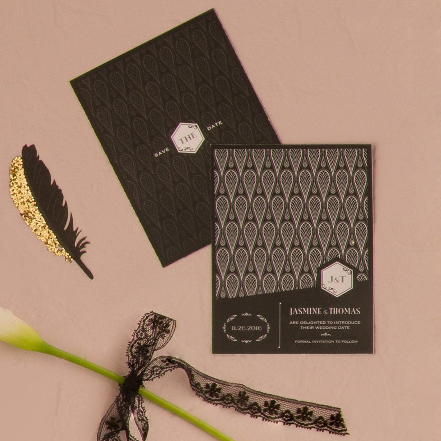 Black and Gold Opulence Art Deco Save The Date Card | Confetti.co.uk