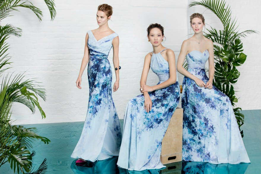 Patterned Blue Bridesmaid Dresses by Kelsey Rose | Confetti.co.uk