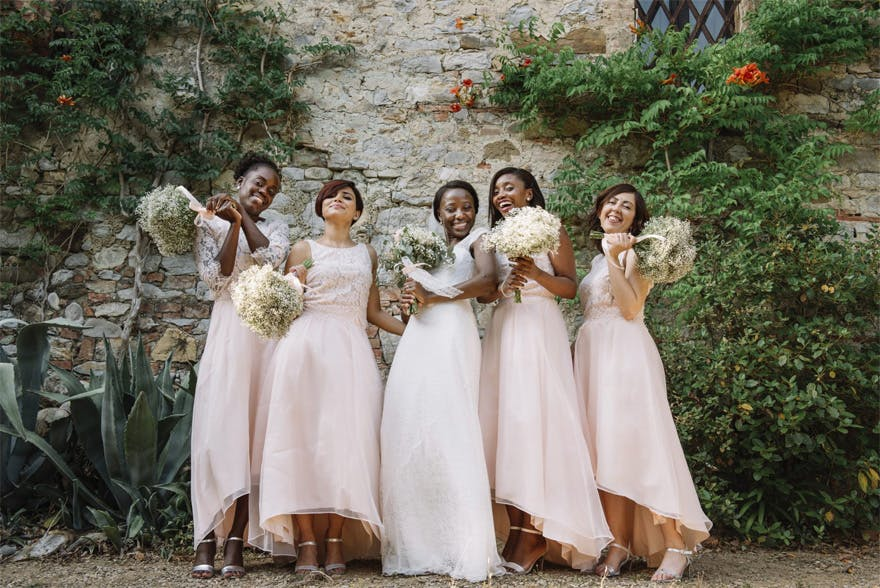 Blush Pink Wedding Dresses and Baby's Breath Bouquets - Ana and Kevin's Romantic Italian Castle Wedding in Tuscany | Confetti.co.uk
