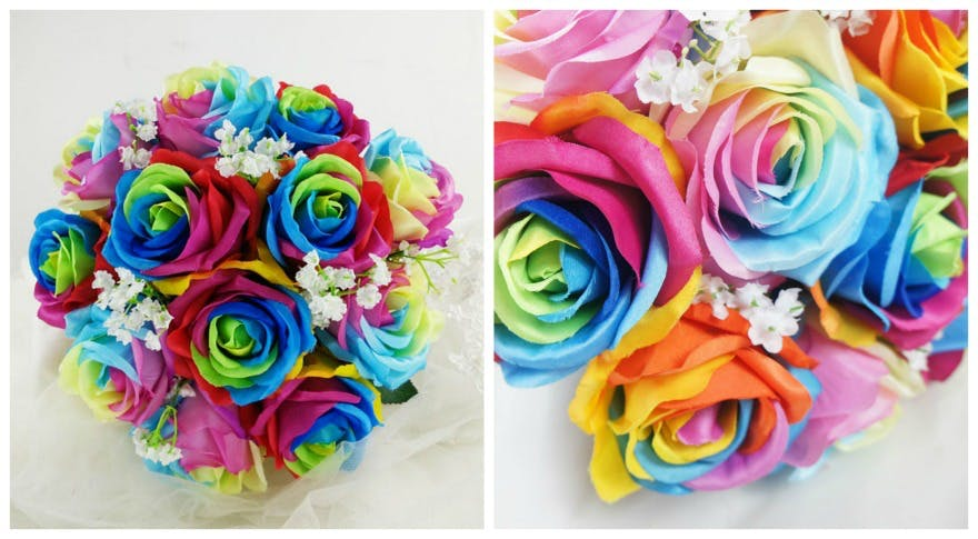 Rainbow silk bridal bouqet by floralYome on Etsy | Confetti.co.uk