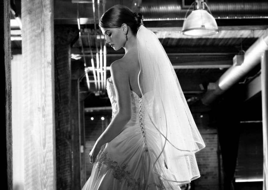 Bride Wearing Long Wedding Veil - Black and White | Confetti.co.uk