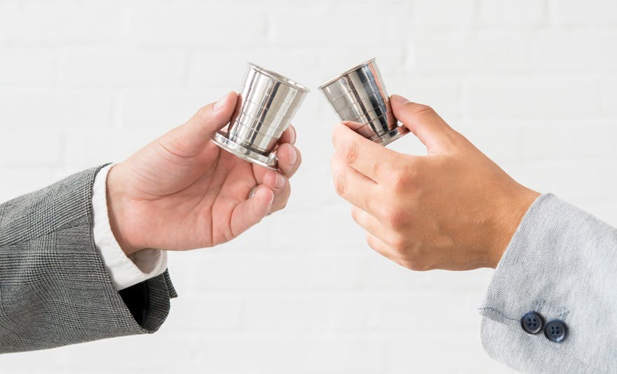 Collapsible Silver Stainless Steel Personalised Shot Glass With Lid | Confetti.co.uk