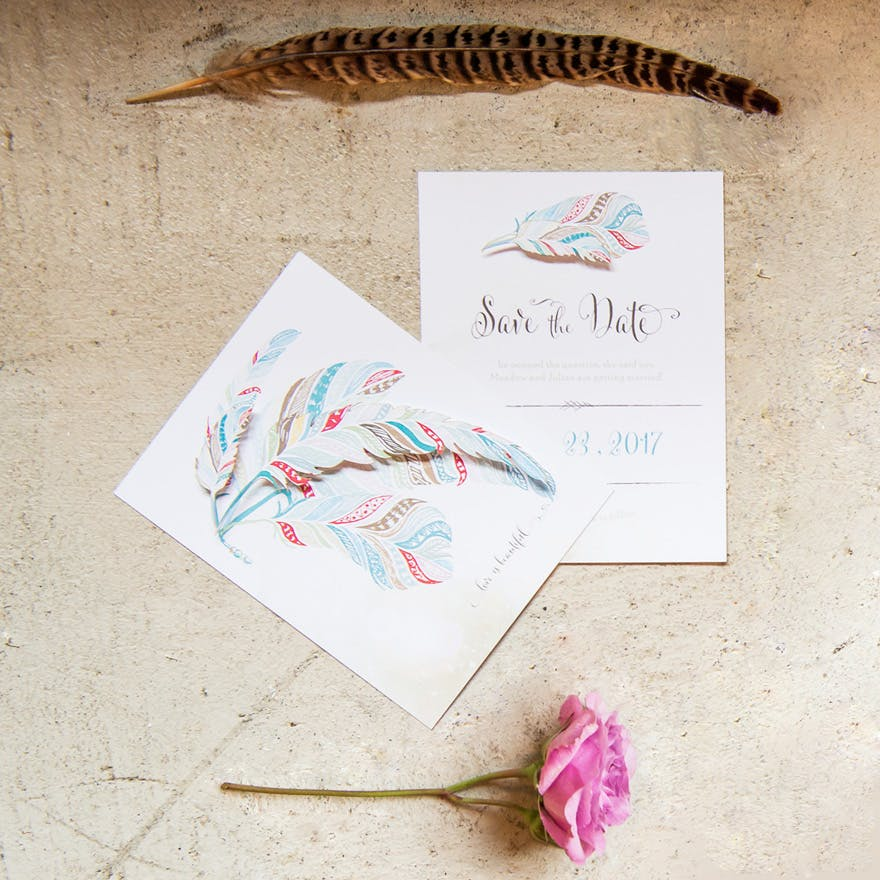 Feather Whimsy Bohemian Wedding Theme Save The Date Card | Confetti.co.uk