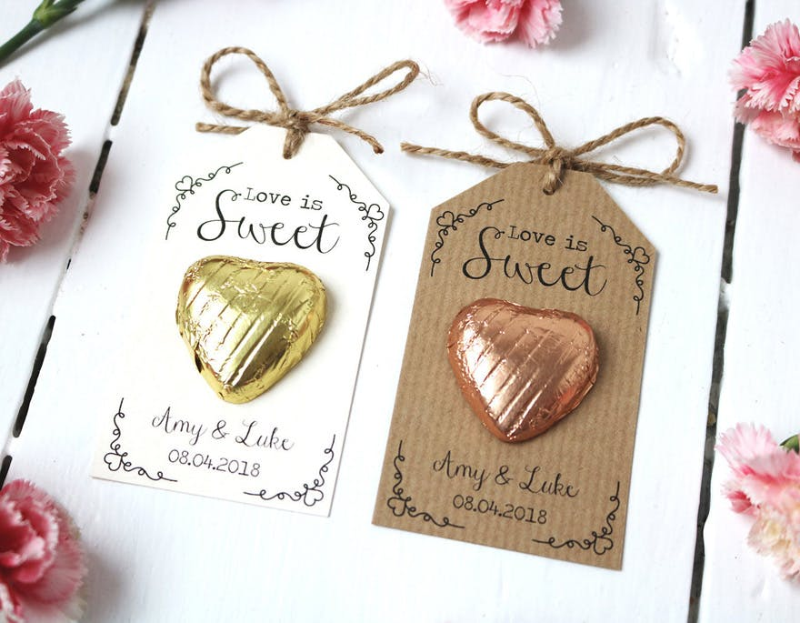 Love is Sweet - Gold and Rose Gold Chocolate Heart Wedding Favour by LittleIndieStudio on Etsy | Confetti.co.uk