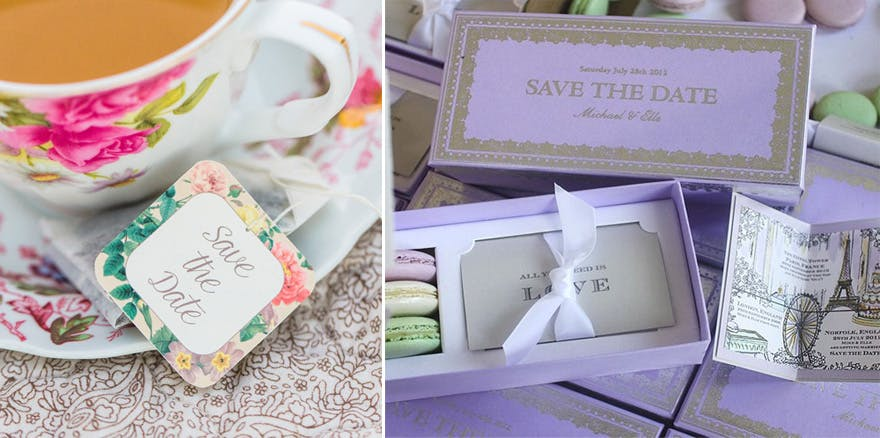 Macaron Box Wedding Save The Date Idea And Personalised Tea Bags From Vintage