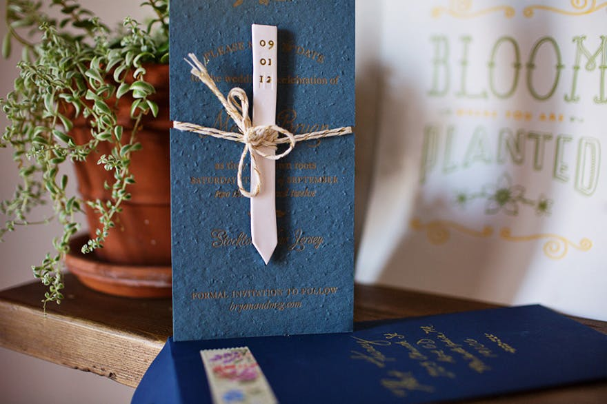 Meg and Ryan's Plant Marker and Plantable Save the Dates from Oh So Beautiful Paper | Confetti.co.uk