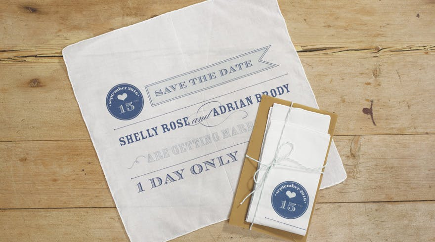Play Bill White And Navy Save The Date Personalised Handkerchief Confetti Co Uk