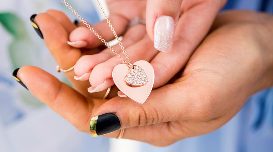 Rose Gold and Crystals Double Heart Personalised Necklace | Confetti.co.uk