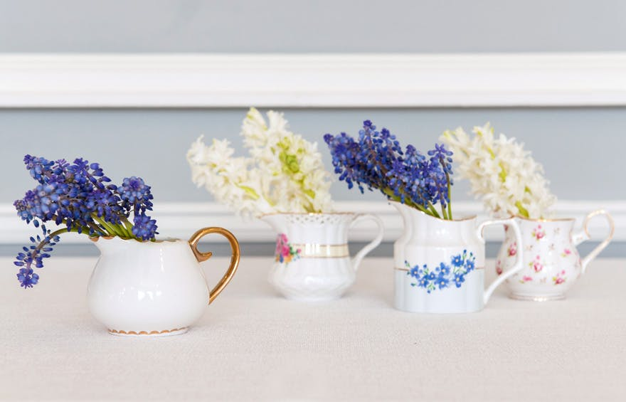 Vintage Blue Wedding Colour Scheme - Vintage Creamer Assortment Favour Vase Set - Mini Vintage Jug Favours | Confetti.co.uk