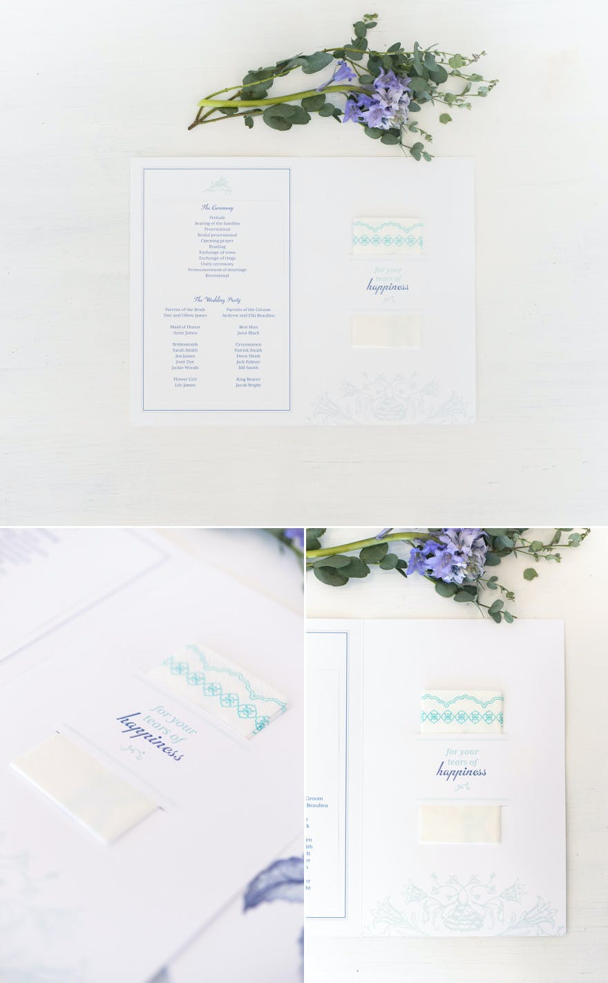 Wedding Ceemony Program with Tissues For Your Tears of Happiness | Confetti.co.uk