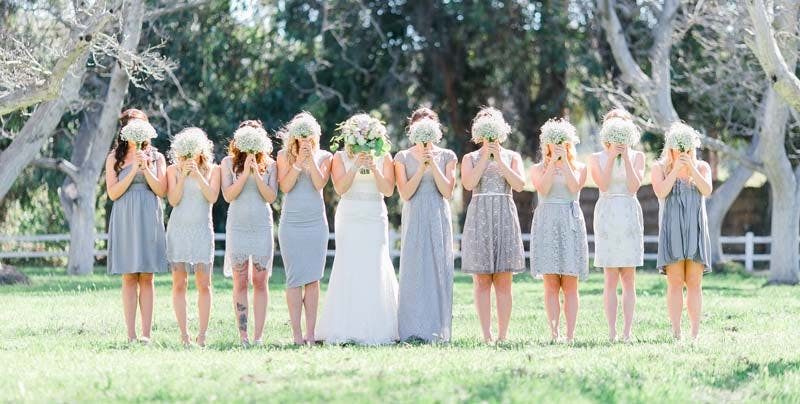 Bride with multiple bridesmaids