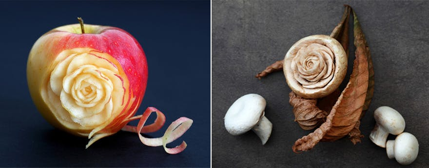 Apple Carved into the Shape of a Rose - Mushroom Carved into the Shape of a Rose - Food Carvings by Ilian Iliev | Confetti.co.uk