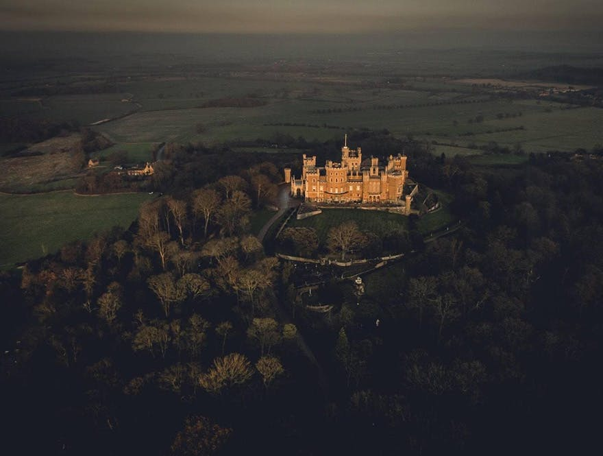 Belvoir Castle Grade I Listed Stately Home and Wedding Venue in Leicestershire, the East Midlands, Overlooking the Vale of Belvoir - Aerial Photo by Riff Raff Photography | Confetti.co.uk
