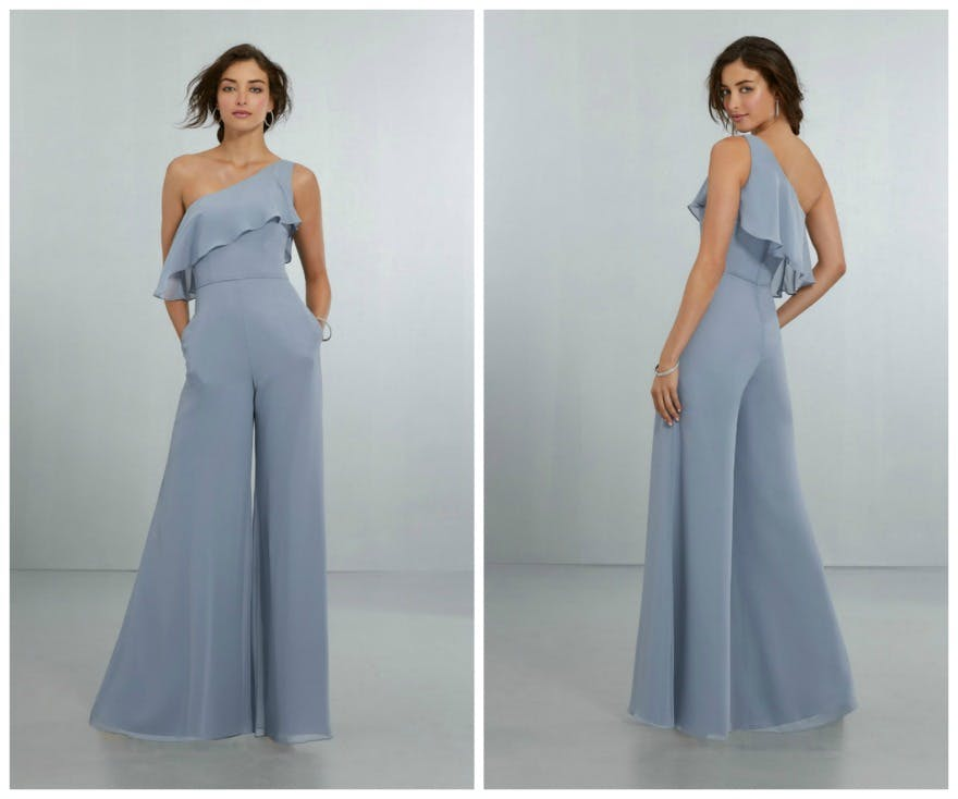 Blue bridesmaid dresses by Morilee jumpsuit | Confetti.co.uk