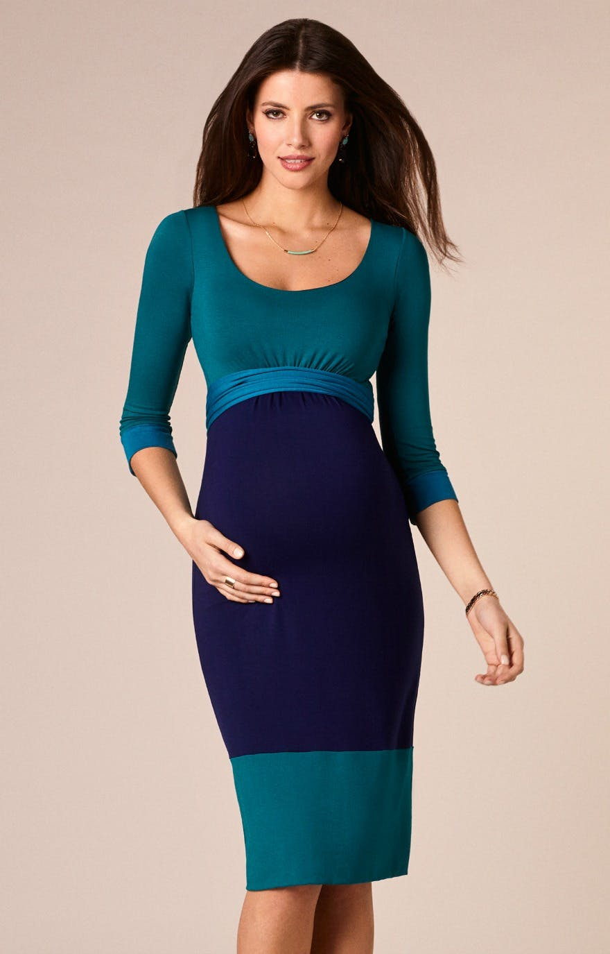 Blue colour block maternity dress by Tiffany Rose | Confetti.co.uk