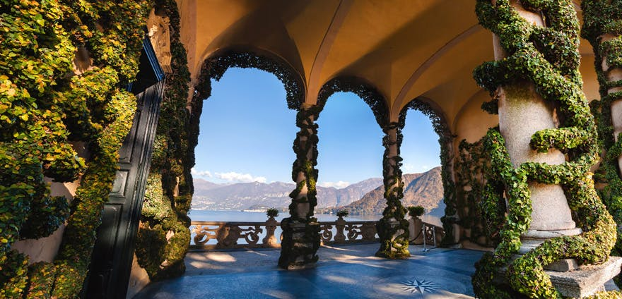 Lake Como in Italy - Inspiration for Star Wars Planet of Naboo - Lake Como Villa Balcony with Stone Pillars | Confetti.co.uk