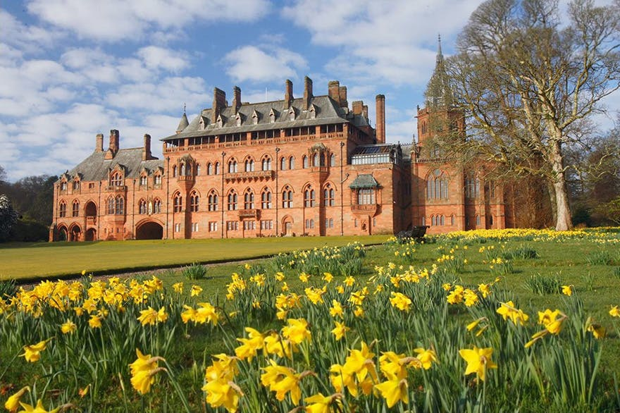 Mount Stuart Scottish Castle Wedding on the Isle of Bute, Scotland – Historic Buildings and Homes on VisitScotland - Spring Castle with Yellow Daffodils | Confetti.co.uk
