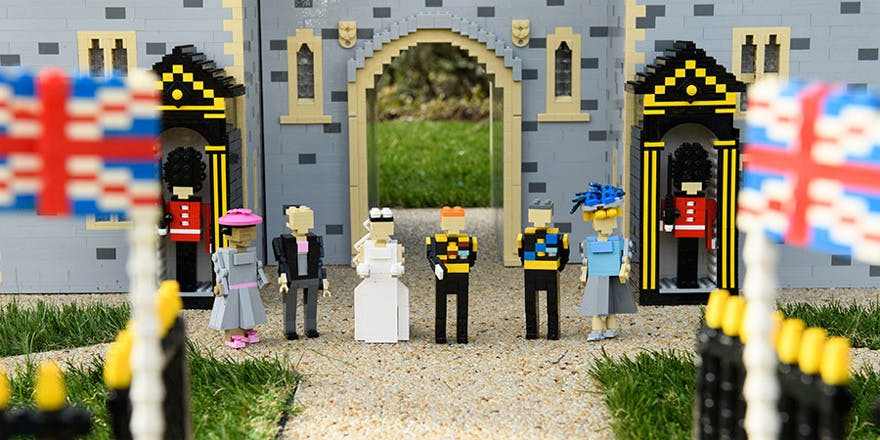 Prince Harry and Meghan Markle's LEGO Windsor Castle Model with LEGO Charles and Camilla and Meghan Markle's LEGO Parents as well as LEGO Foot Guards and LEGO Union Jack Flags   Confetti.co.uk