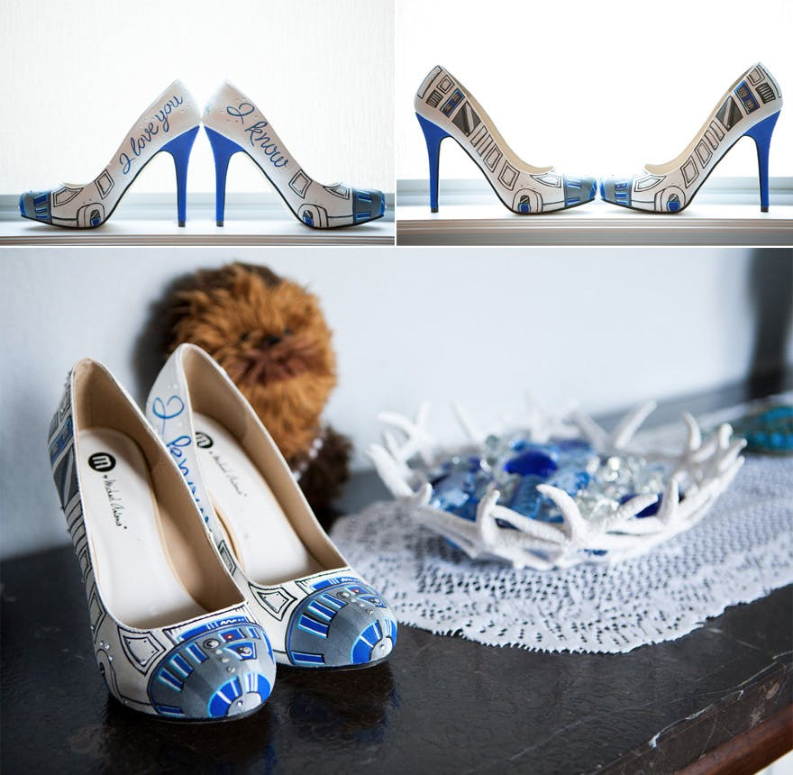 R2D2 Custom Painted Heels - A Star Wars Wedding in Dallas by Pink Posh Photography On When Geeks Wed | Confetti.co.uk
