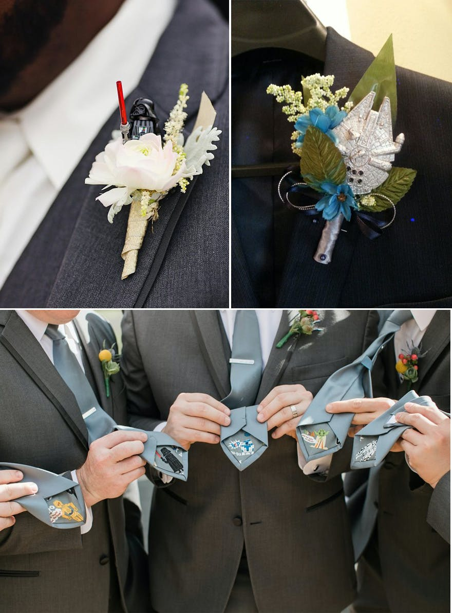 Star Wars DIY Ties and Star Wars Darth Vader Boutonniere and Millennium Falcon Boutonniere | Confetti.co.uk