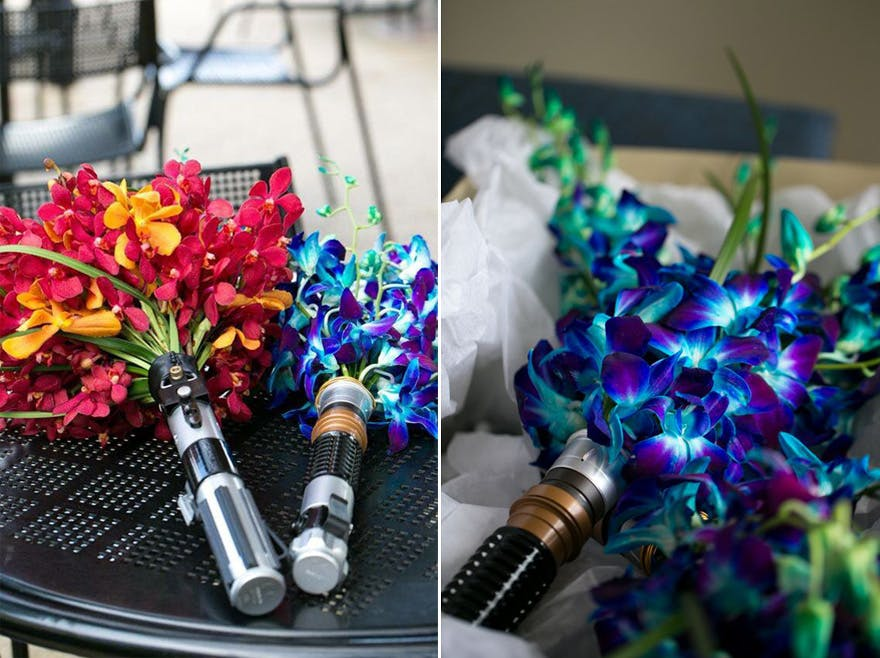 Star Wars Lightsaber Bouquets with Electric Blue Orchids and Red and Yellow Orchids - Photo by Andrew Weckerly on Pinterest | Confetti.co.uk