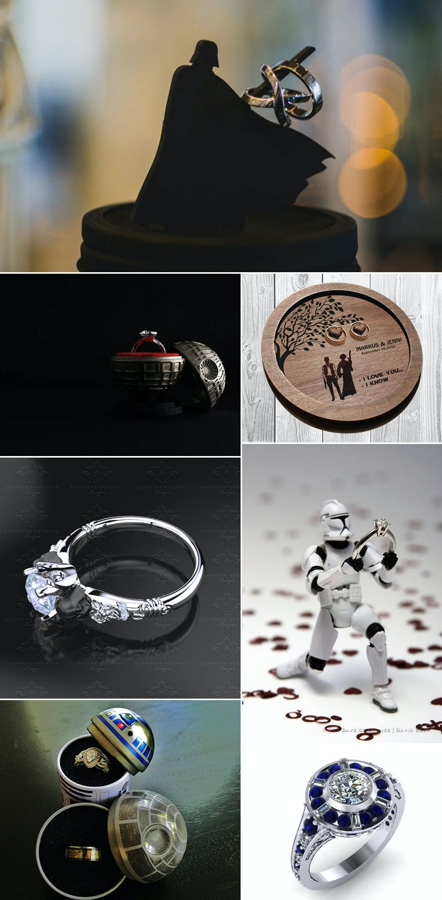 Star Wars Rings and Ring Boxes with Death Star Ring Box and R2D2 Proposal and R2D2 Blue and White Ring R2D2 Inspired Halo Engagement Ring 14 Karat White Gold by Paul Michael Design | Confetti.co.uk