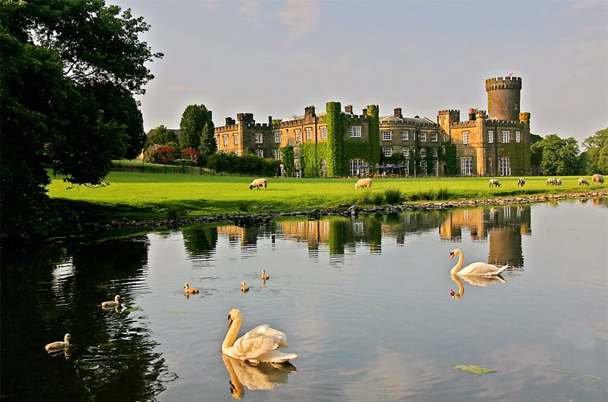 Swinton Estate Romantic Wedding Venue in the Yorkshire Dales with Ivy Covered Walls, Grazing Sheep, and Swans and Ducklings on the Lake - Luxury Wedding Venues in the UK - Swinton Park Beautiful Wedding Venue in Ripon, North Yorkshire | Confetti.co.uk