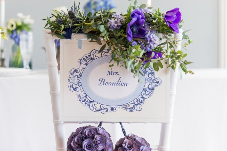 Personalised vintage style chair signs | Confetti.co.uk