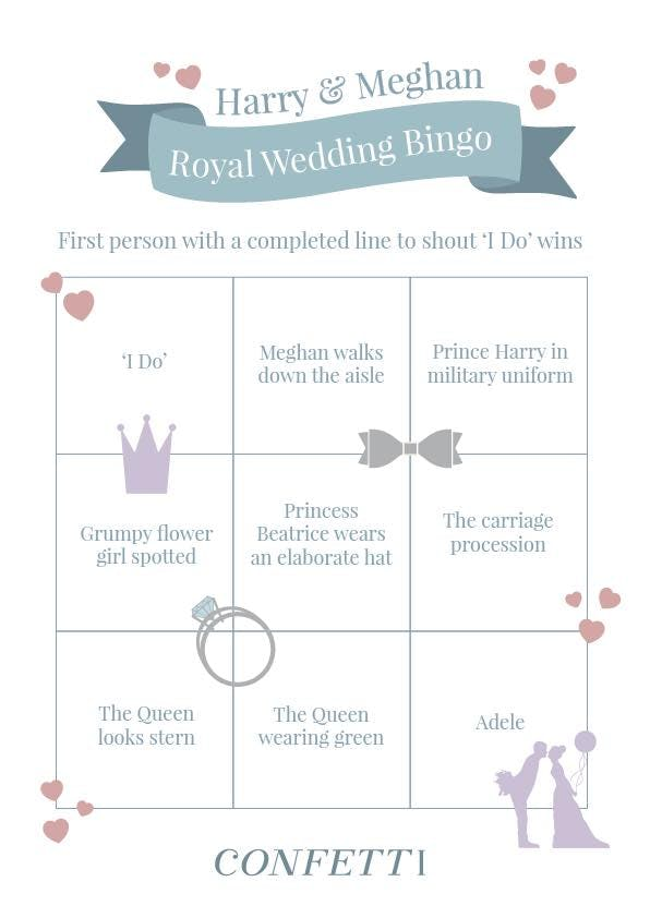 royal wedding bingo sheet