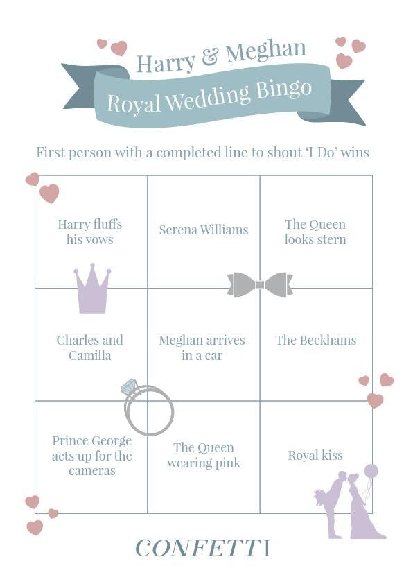 printable for royal wedding bingo
