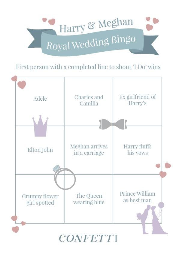 bingo sheet for royal wedding