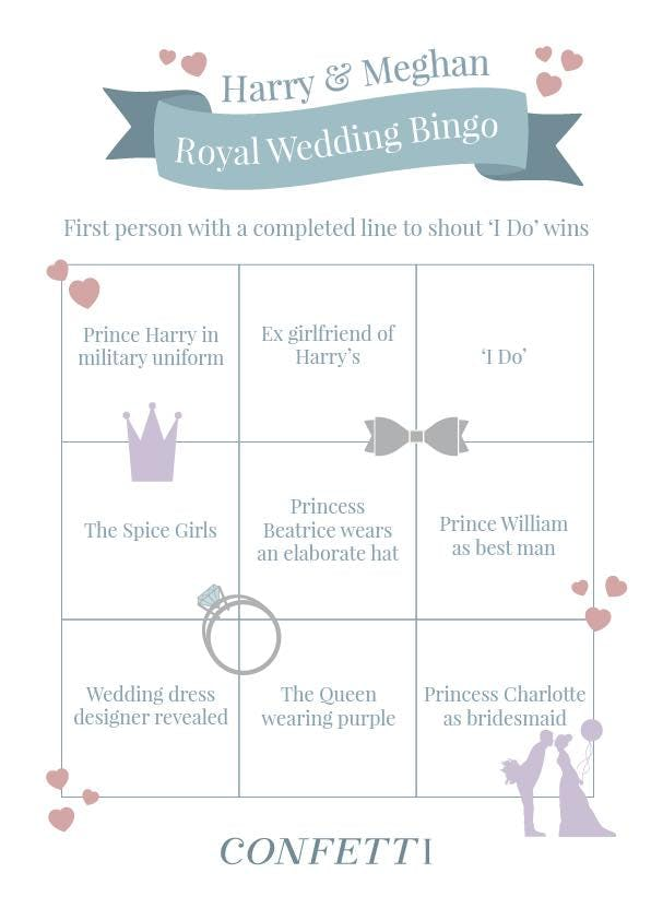 player two royal wedding bingo