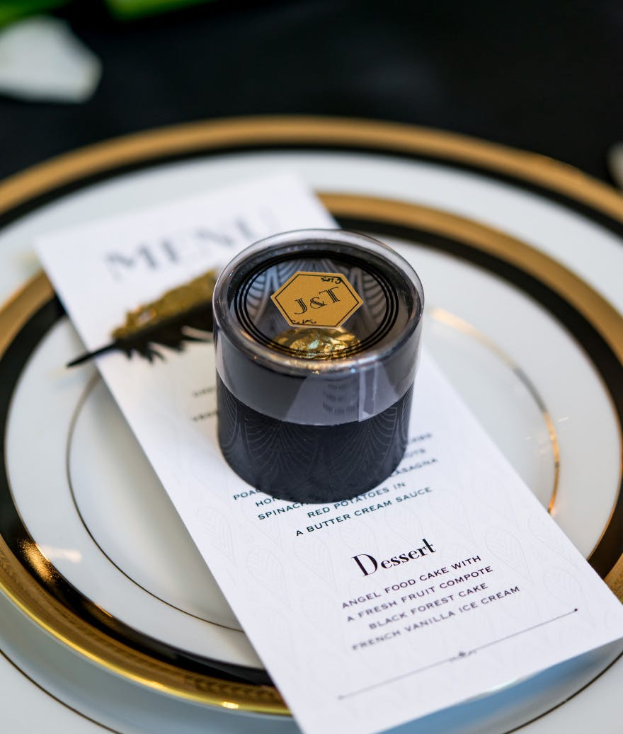 Black and Gold Art Deco Cylinder Boxes with Clear Lid - Stylish Wedding Favour Boxes   Confetti.co.uk