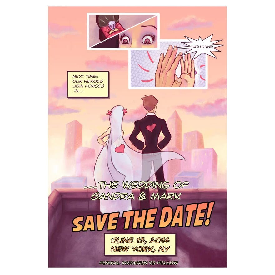 Comic Book Save the Date Digital Superhero Style Wedding by AwkwardAffections on Etsy | Confetti.co.uk