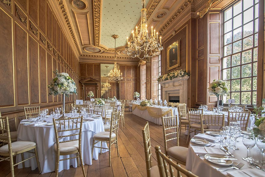 Gosfield Hall Elegant Ballroom And Lavish Dining Room With Large Windows