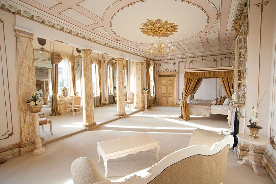 "Gosfield Hall Grand Wedding Venue in Gosfield, Essex - Luxury White and Gold ""Rococo"" Bridal Suite Bedroom 