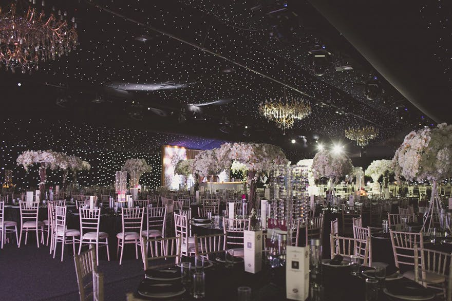 Newland Manor Asian Wedding Venue of Grandeur and Elegance - Beautiful Wedding Reception with Starry Ceiling and Chandeliers | Confetti.co.uk